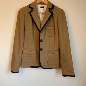 J.CREW wool camel school boy blazer with navy trim